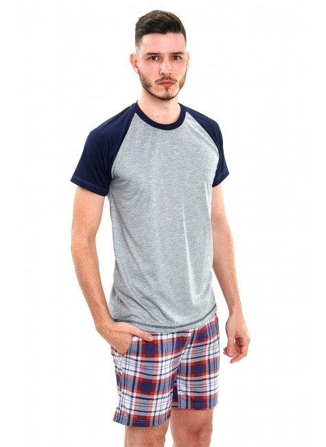 pijama masculino curto xadrez xadrez vermelho 4