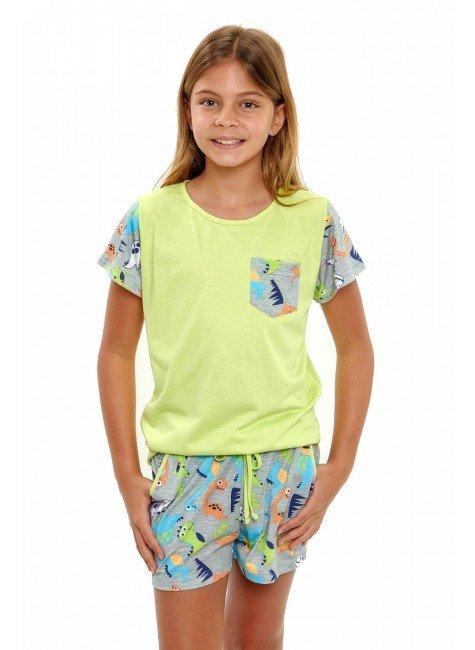 pijama de dinossauros coloridos infantil feminino curto 5