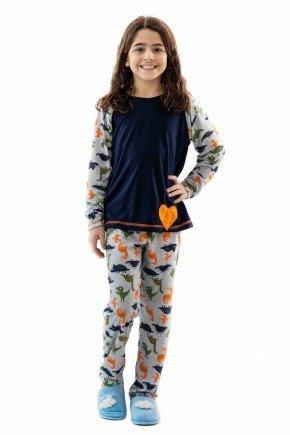 pijama infantil de dinossauro feminino em malha mania pijamas 5