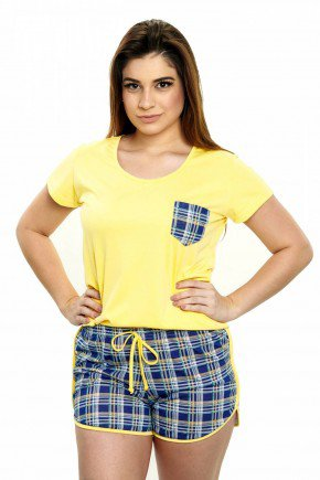 pijama feminino curto xadrez amarelo com azul 5