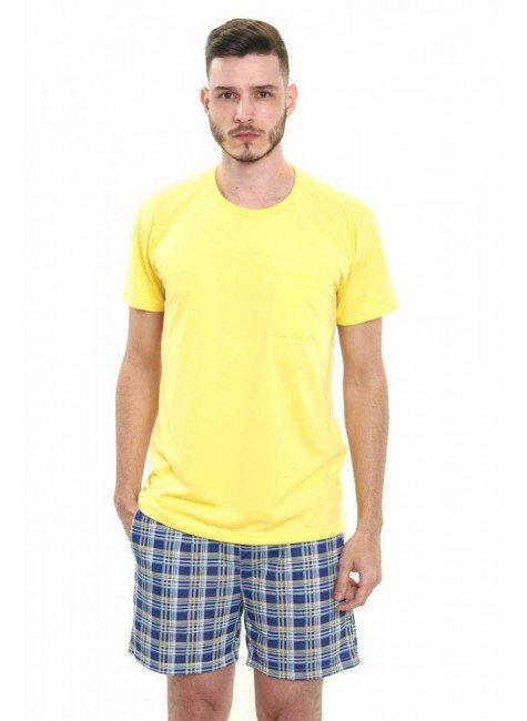 pijama masculino curto com shorts xadrez amarelo com azul 4