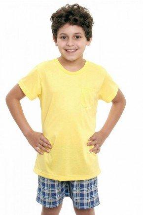 pijama infantil masculino curto com shorts xadrez amarelo com azul 2