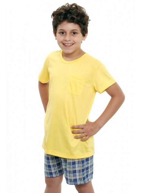 pijama infantil masculino curto com shorts xadrez amarelo com azul 4