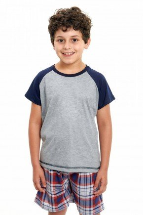 pijama infantil masculino xadrez curto