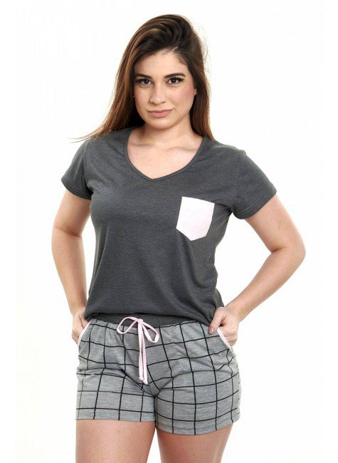 pijama feminino xadrez mescla curto 4