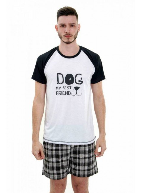 pijama masculino curto pets xadrez 4
