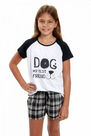 pijama infantil feminino curto pets xadrez 4