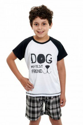 pijama infantil masculino curto pets xadrez 4