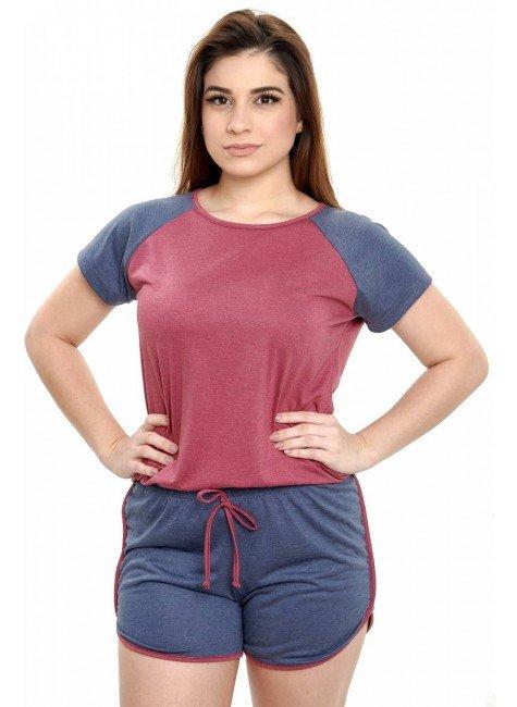 pijama feminino de malha mescla curto 5