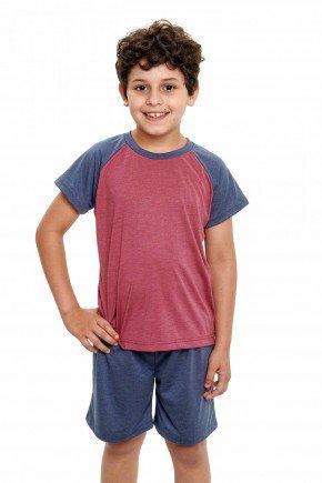 pijama infantil masculino de malha mescla curto 4