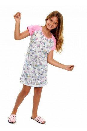 camisola de unicornio feminina infantil menina manga curta 4