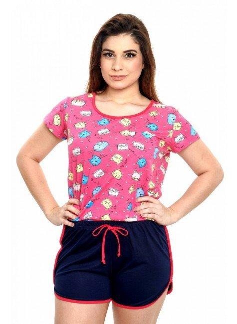 pijama feminino gatinhos manga curta 4