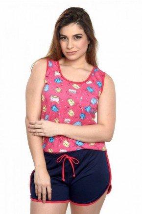 pijama feminino gatinhos pink regata curto 5