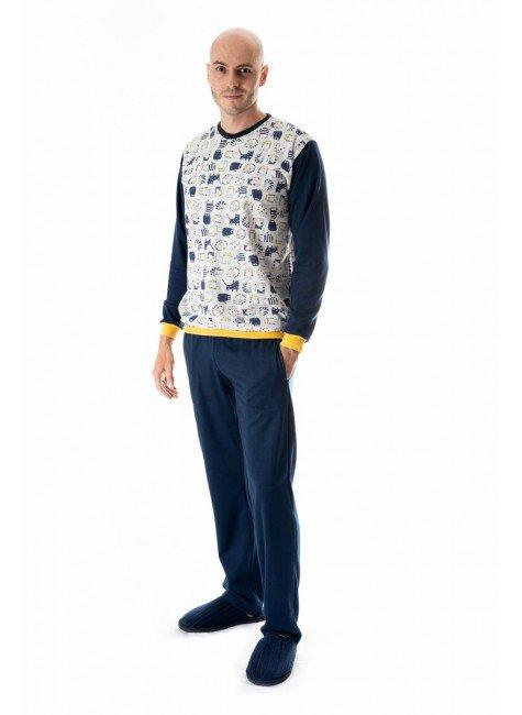 pijama flanelado masculino adulto gatinhos 5