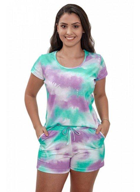 pijama tie dye feminino estampado curto com shorts mania pijamas 3