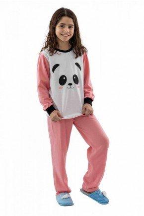 pijama de panda infantil flanelado feminino mania pijamas 5
