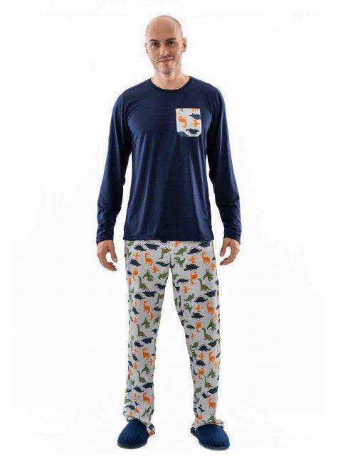 pijama de dinossauros masculino longo com calca 01