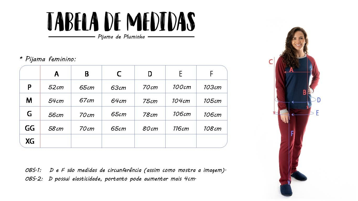 tabela de medidas pijama feminino longo mania pijamas possui direitos autorais