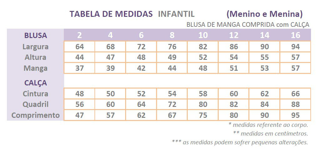 tabela de medidas pijama infantil longo mania pijamas possui direitos autorais