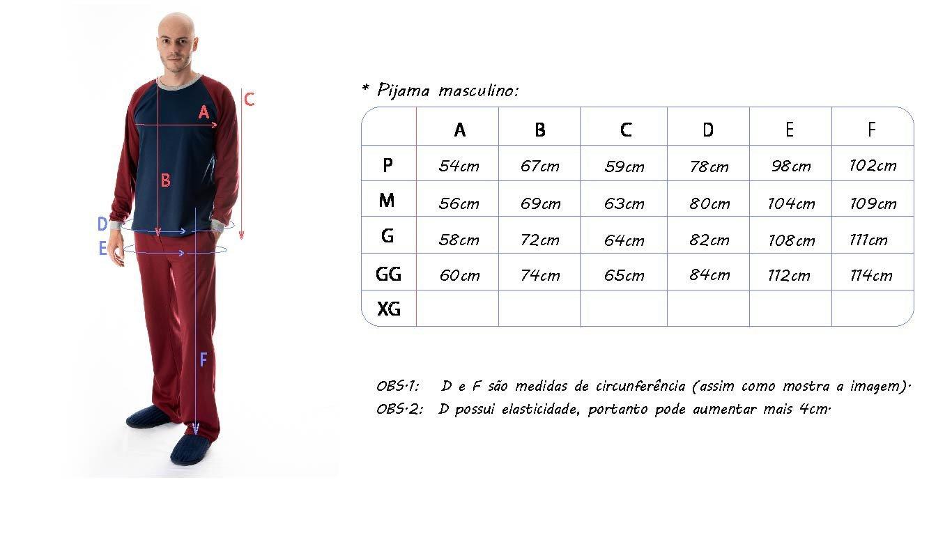 tabela de medidas pijama masculino longo mania pijamas possui direitos autorais