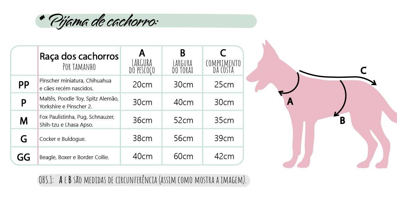 tabela de medidas pijamas para pets mania pijamas possui direitos autorais