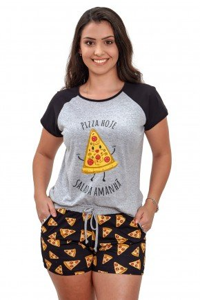 pijama de pizza feminino adulto curto de algodao mania pijamas 2