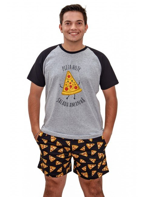 pijama de pizza masculino curto com samba cancao pizza algodao mania pijamas 2