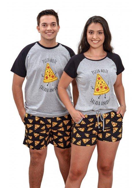 Pijama de Pizza Casal Curto Algodão - Mania Pijamas 2