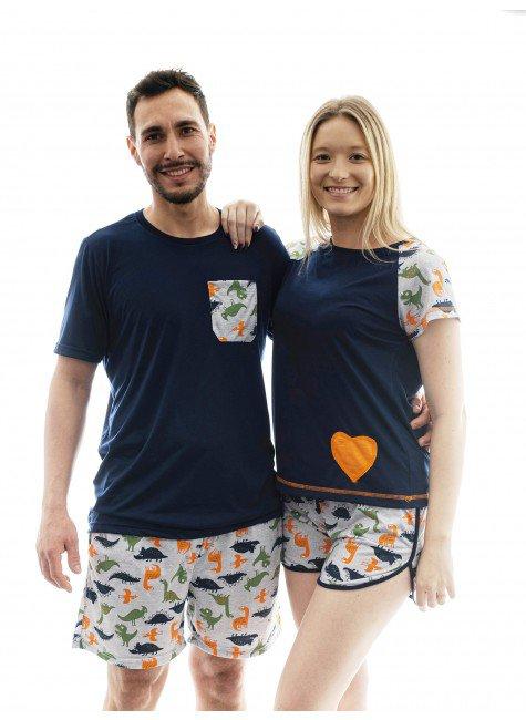 pijama de casal namorados dinossauros marinho 01