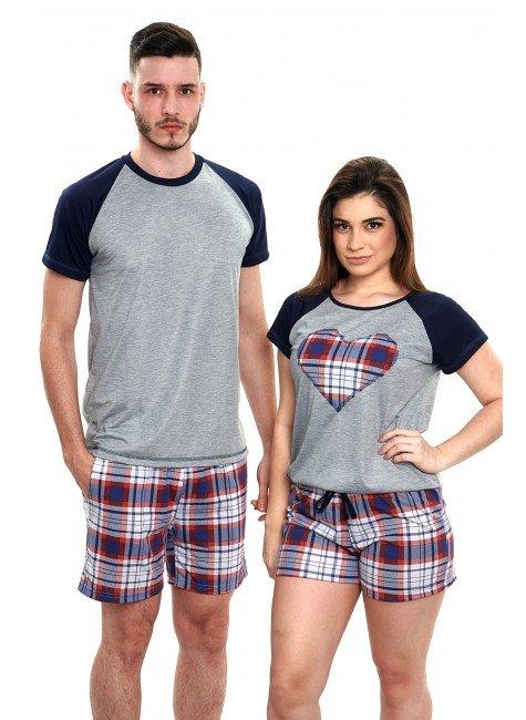 pijamas de casal xadrez vermelho 2