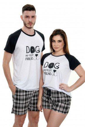pijama de casal pets xadrez preto 2