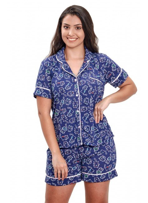 pijama com botao aberto feminino gatinho azul mania pijamas 4