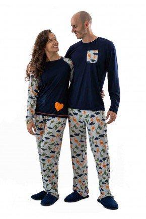 pijama de dinossauros pv longo com calca casal namorados