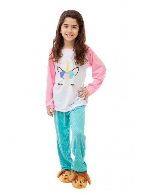 18001 pijama de unicornio infantil longo rosa com verde mar 01