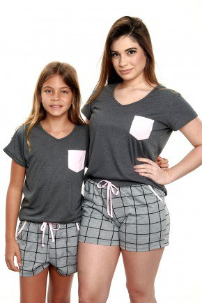 pijama mae e filha curto xadrez em malha mania pijamas 1