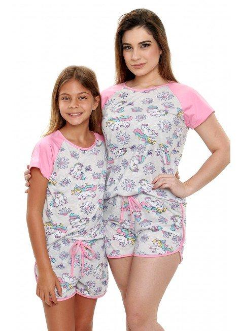pijama de unicornio mae e filha curto com shorts mania pijamas 2