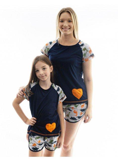dinossauro pijama mae e filha dinossauro curto 1