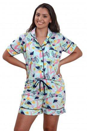 Pijama com boto aberto feminino curto floral verde   Mania Pijamas 5