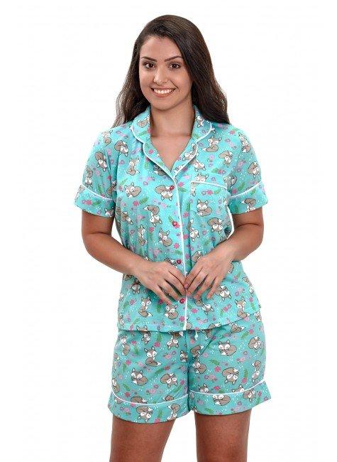 pijama com botao aberto feminino curto estampado com raposinhas mania pijamas 3