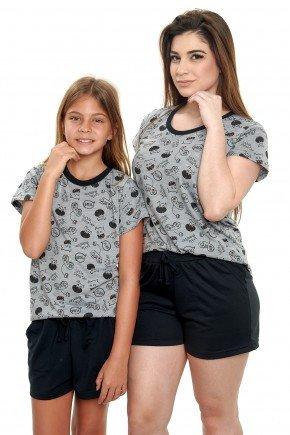 pijamas mae e filha curto de malha monstrinhos pijamas estampas divertidas mania pijamas
