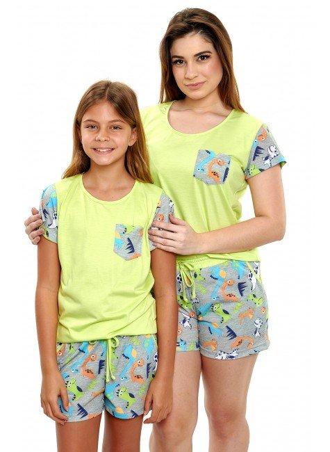 pijamas mae e filha dinossaruso coloridos curto em malha mania pijamas 2