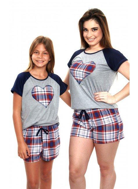 pijama mae e filha curto xadrez vermelho 3