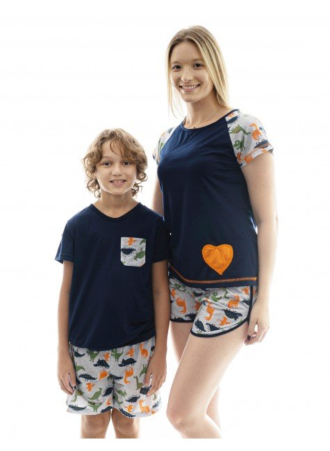 dinossauro pijama mae e filho dinossauro curto 2