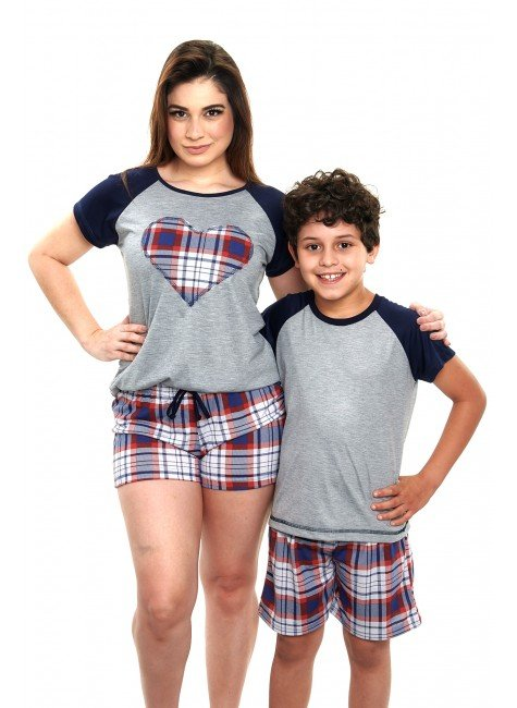 pijama mae e filho curto xadrez vermelho 2