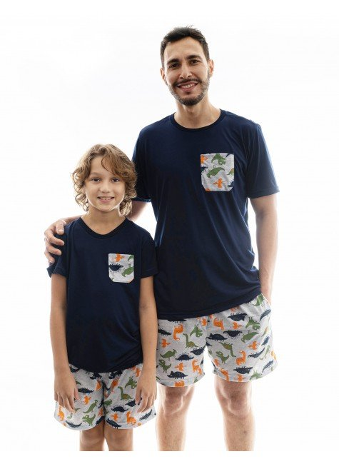 dinossauro pijama pae e filho dinossauro curto 2