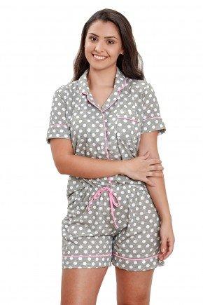 pijama com botao aberto feminino curto poa cinza com bolinhas brancas mania pijamas 3