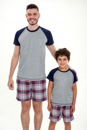 pijama pai e filho curto xadrez vermelho 3