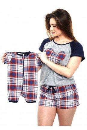 pijama mae e bebe curto xadrez vermelho