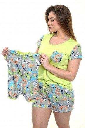 Pijama mãe e bebê macacão e recem nascido - Dinossauros