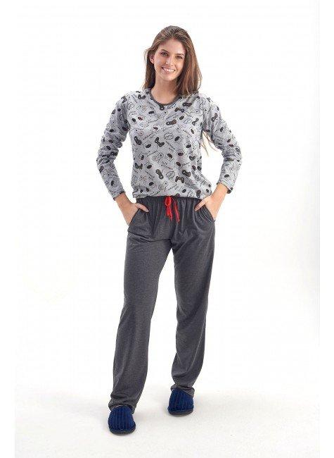 pijama de inverno feminino monstrinhos comprido com calca mania pijamas 2